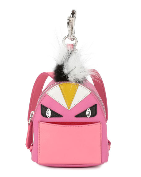 Fendi Mini Monster Backpack Charm for Handbag, Pink