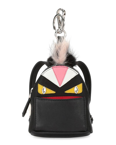 Mini Monster Backpack Charm for Handbag, Black Multi