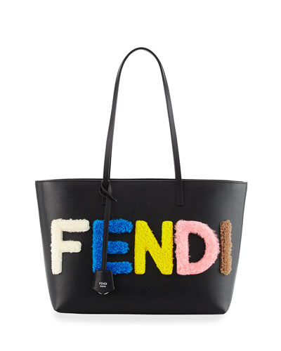 Shearling Fur Logo Lettering Small Roll Tote Bag, Black