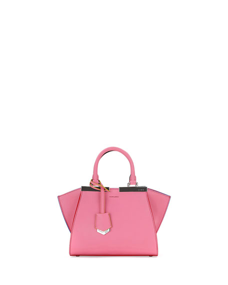 Fendi 3 Jours Mini Leather Satchel Bag, Pink