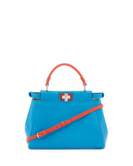 Peekaboo Mini Bicolor Satchel Bag, Blue