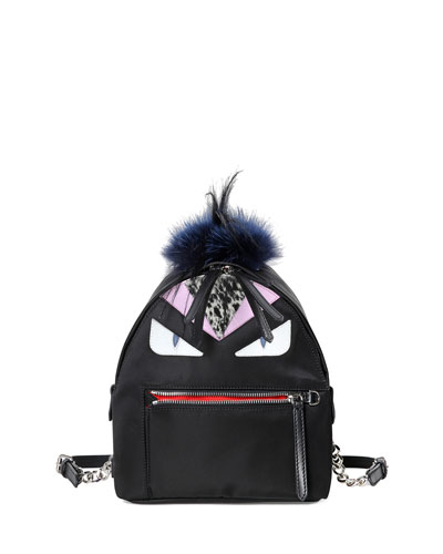 Mohawk Monster Backpack Bag, Black Multi