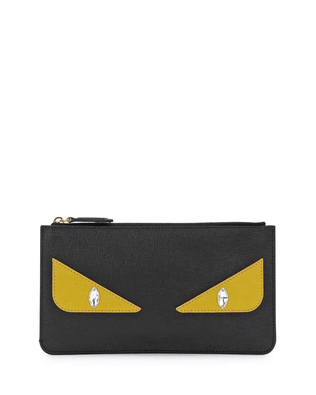 e2a95019c180 Fendi Monster Eye Leather Pouch Bag, Black   Neiman Marcus