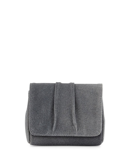 Lauren Merkin Mini Caroline Stingray-Embossed Leather Clutch Bag, Gray