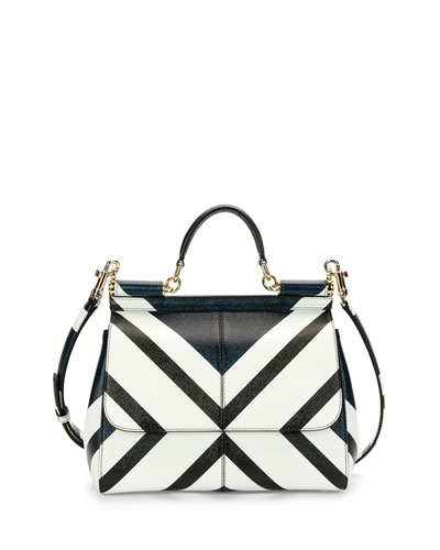 Dolce & Gabbana Miss Sicily Medium Geo-Stripe Satchel