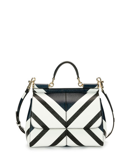 Dolce & Gabbana Miss Sicily Medium Geo-Stripe Satchel Bag, Dark Blue/White