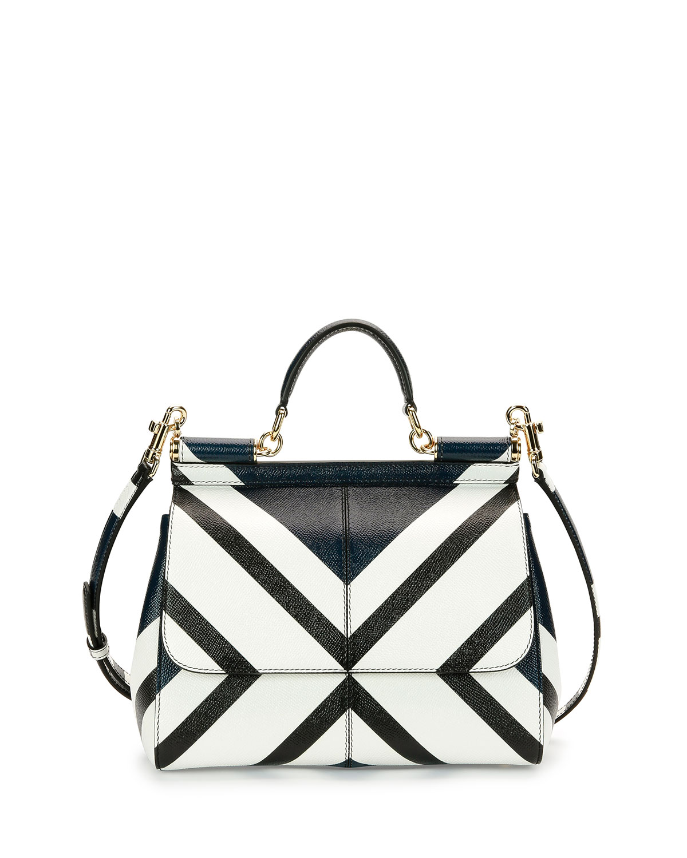 708c211be9 Dolce   Gabbana Miss Sicily Medium Geo-Stripe Satchel Bag