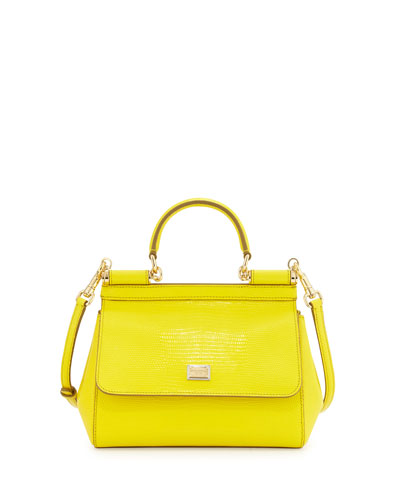 Miss Sicily Medium Lizard-Stamped Satchel Bag, Yellow