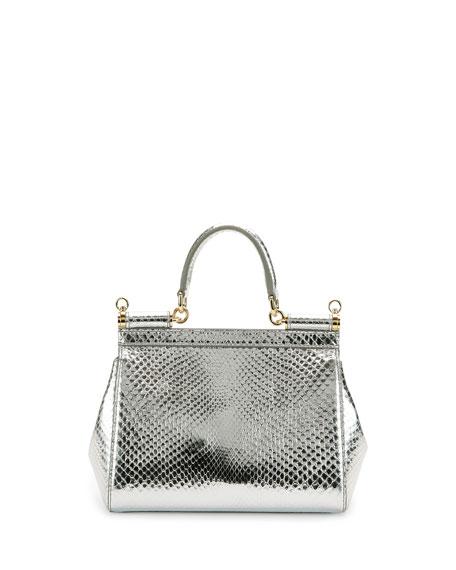 Miss Sicily Small Metallic Python Satchel Bag, Silvertone