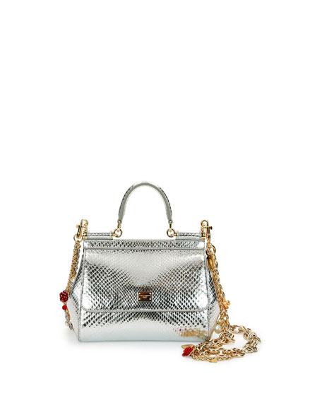 Dolce & Gabbana Miss Sicily Small Metallic Python