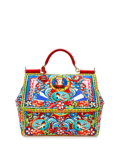 Miss Sicily Extra-Large Court Printed Satchel Bag, Multicolor