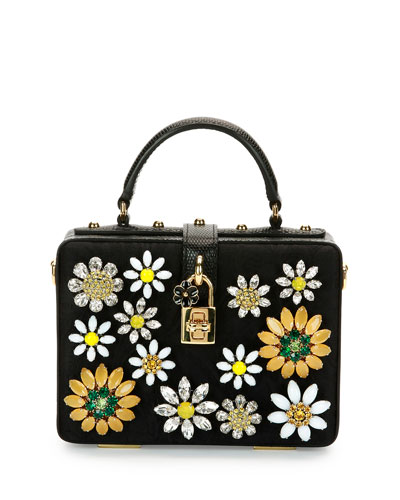 Dolce Box Crystal Flower Satchel Bag, Black/Multi