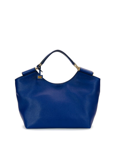Medium Soft-Grain Leather Tote Bag, Blue