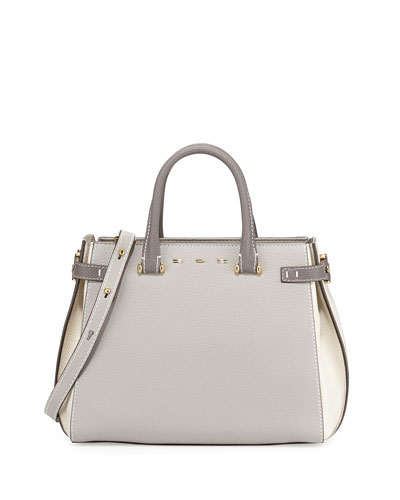 Boulevard 28 Tricolor Vitello Leather Satchel Bag, Gray/White