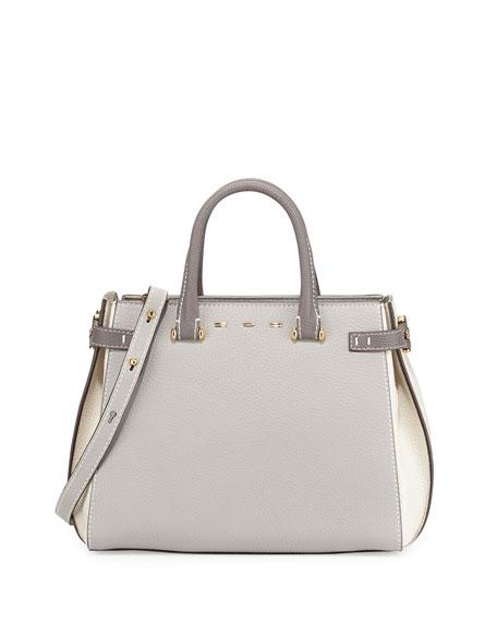 VBHBoulevard 28 Tricolor Vitello Leather Satchel Bag, Gray/White