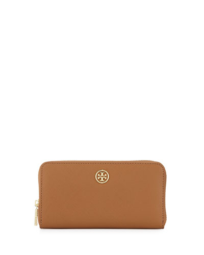 Continental Leather Zip Wallet, Tiger's Eye