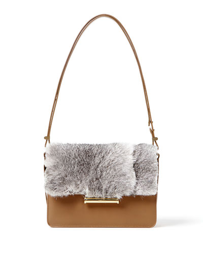 Diane Rabbit Fur Saddle Crossbody Bag, Tan