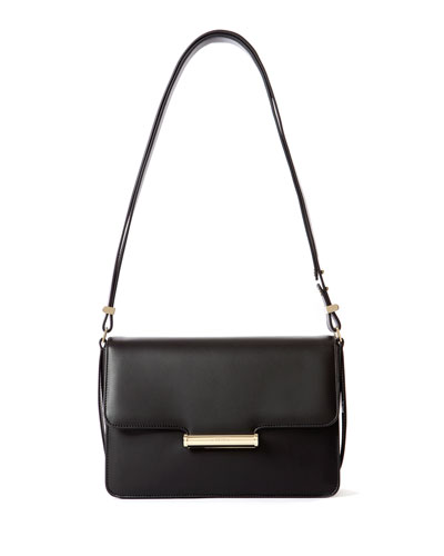 Diane Leather Small Flap Shoulder Bag  Black