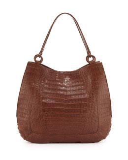 Crocodile Medium Double-Strap Hobo Bag, Kango Matte