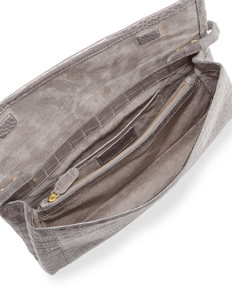 Gotham Crocodile Clutch Bag, Gray Matte