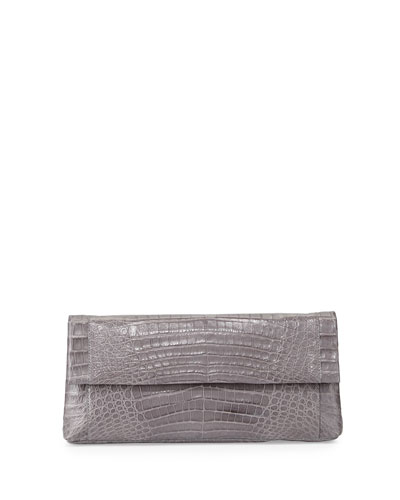 Gotham Crocodile Clutch Bag, Gray Matte