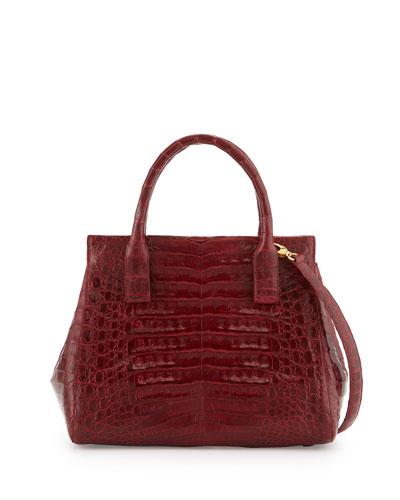 Loop Crocodile Small Satchel Bag, Red Shiny