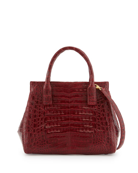 Image 1 of 3: Loop Crocodile Small Satchel Bag, Red Shiny