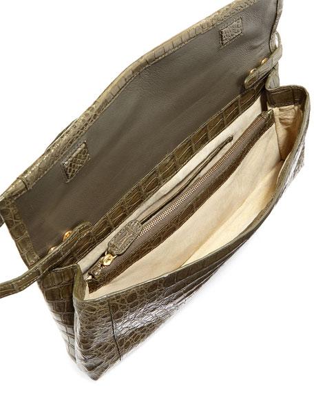 Gotham Matte Crocodile Flap Clutch Bag, Army Green