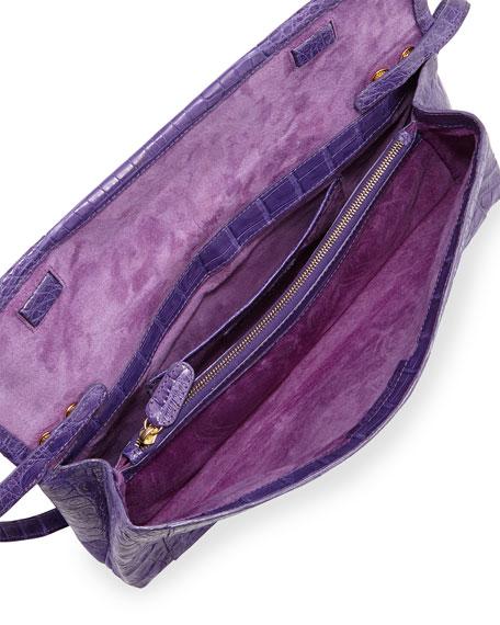 Gotham Crocodile Clutch Bag, Purple Matte