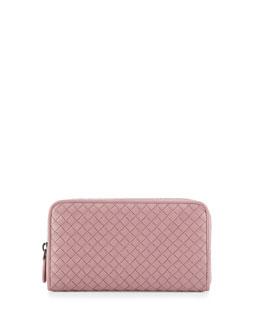 Intrecciato Continental Zip-Around Wallet, Mallow Pink