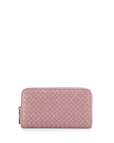 Intrecciato Continental Zip-Around Wallet, Mallow Pink