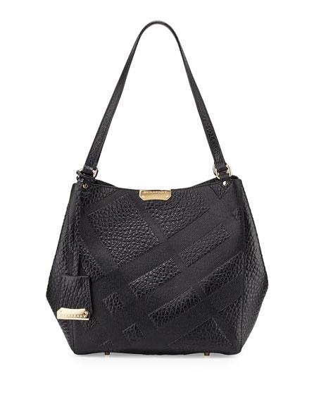 BurberryCanterbury Small Grain Check Shopper Bag, Black