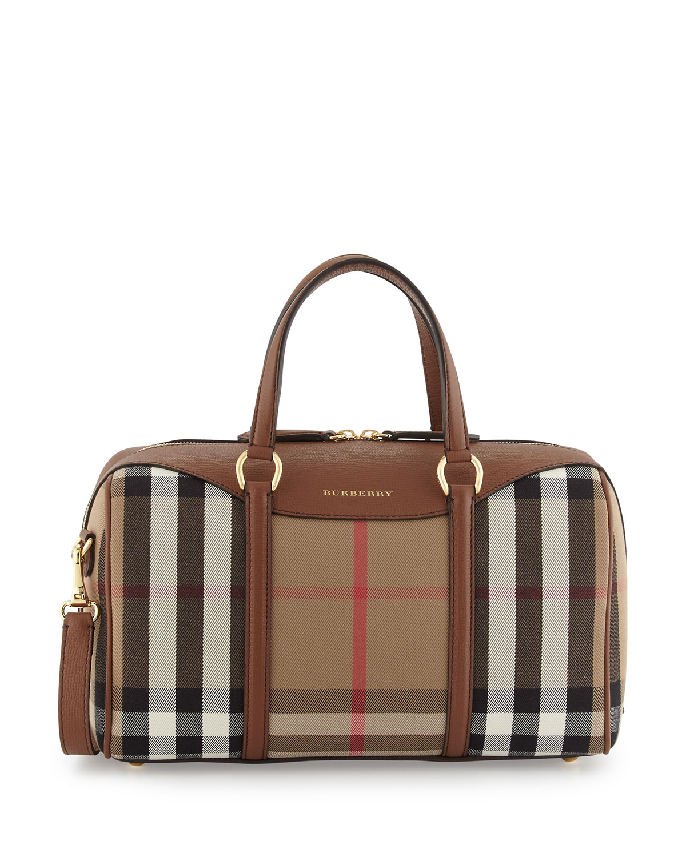 8fd0de9fa854 Burberry Alchester House Check Medium Derby Satchel Bag