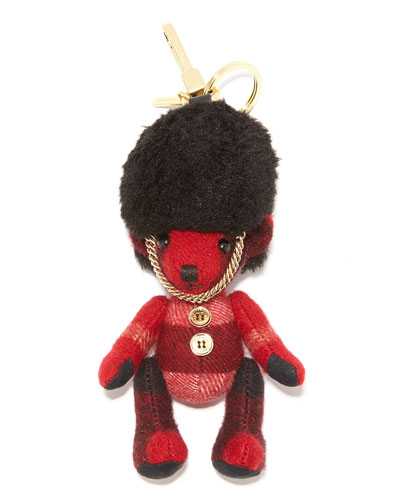 Thomas Busby Check Bear Purse Charm, Parade Red
