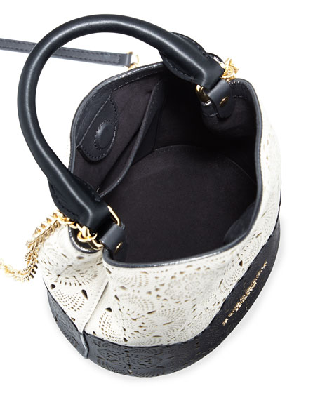 Small Laser-Cut Bucket Bag, Off White