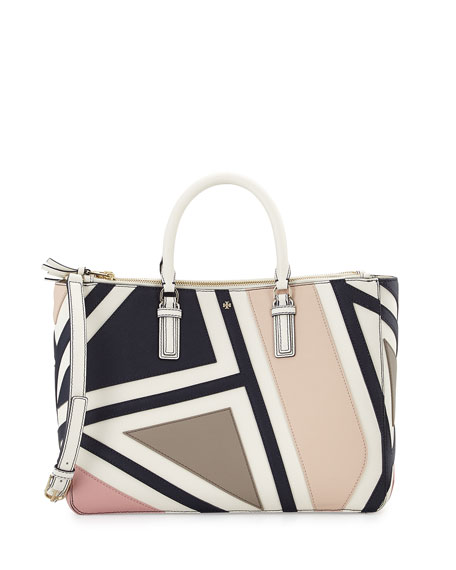 Tory Burch Robinson Fret-Patchwork Tote Bag, New Ivory Multi