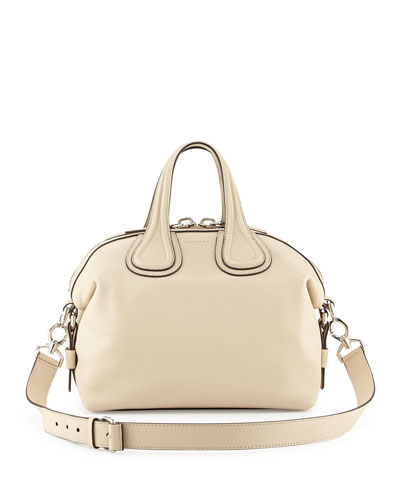 Nightingale Small Waxy Leather Satchel Bag, Beige