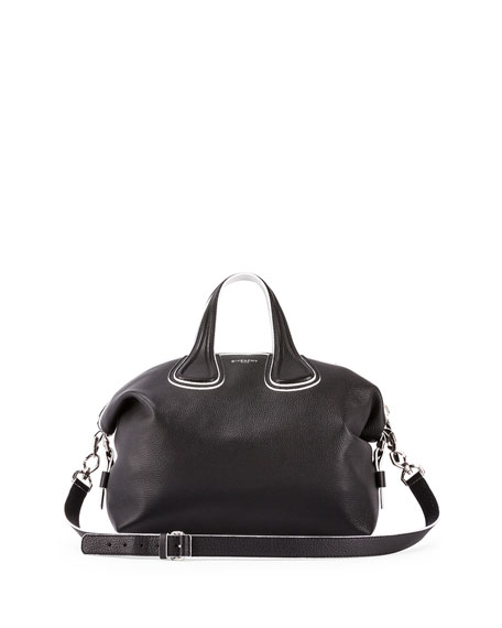 Givenchy Nightingale Medium Grain Bicolor Satchel Bag, Black/White