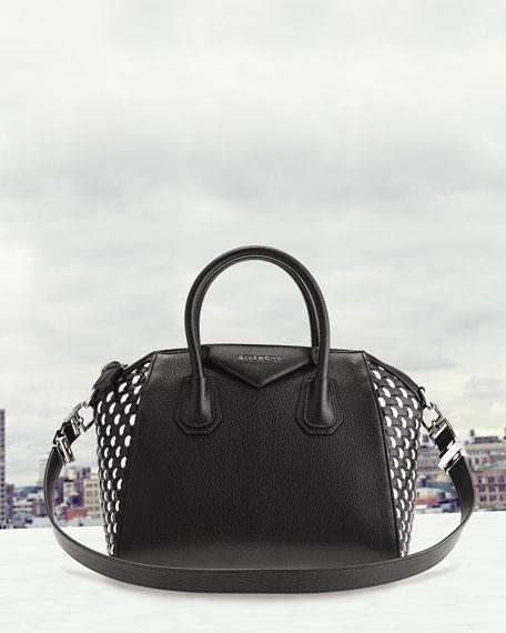 Givenchy Antigona Small Woven Satchel Bag, Black/White