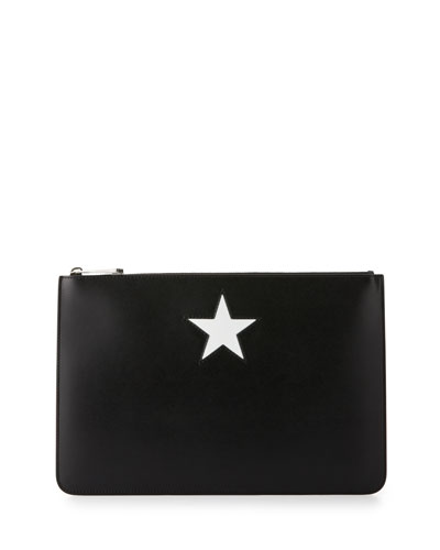 Star Small Calfskin Pouch, Black/White