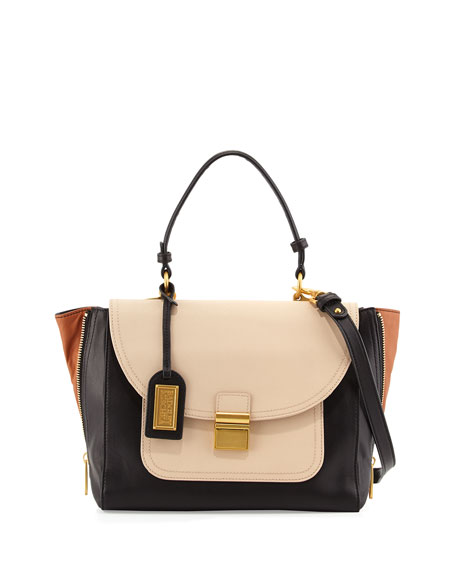 Badgley Mischka Willow Colorblock Leather Flap-Top Crossbody Bag, ...