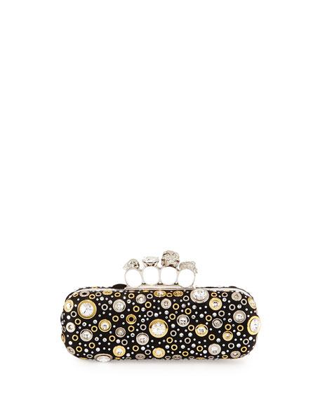 Knuckle Long Box Crystal Clutch Bag, Black