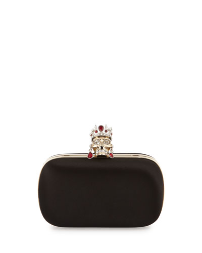 Crown & Earrings Satin Box Clutch Bag, Black