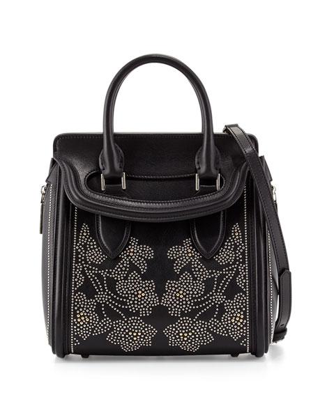 Alexander McQueen Heroine Flowers Small Stud Satchel Bag, Black