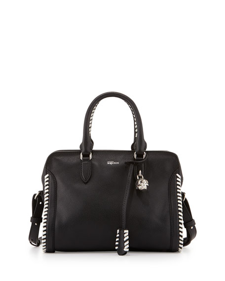 Alexander McQueen Small Whipstitch Padlock Satchel Bag, Black/Ivory