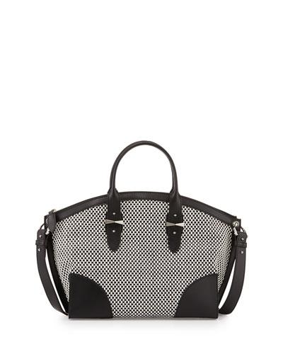 Legend Bicolor Woven Satchel Bag, Black/White