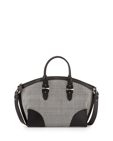 Alexander McQueen Legend Bicolor Woven Satchel Bag, Black/White