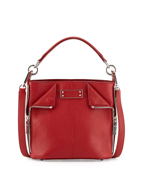 Alexander McQueen De-Manta Small Zip Bucket Bag, Red