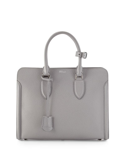 Heroine Grained Leather Tote Bag, Gray