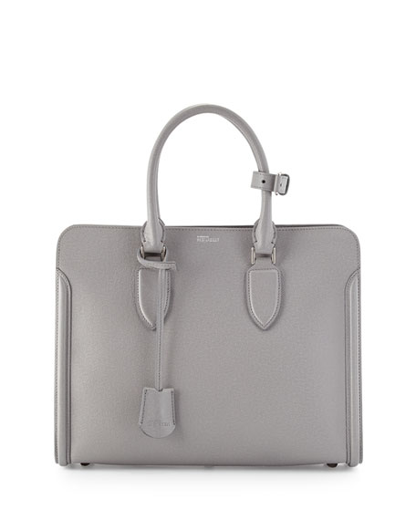 Alexander McQueen Heroine Grained Leather Tote Bag, Gray